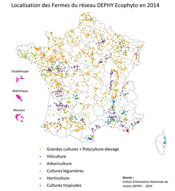 Carte des fermes du réseau DEPHY Ecophyto en 2014